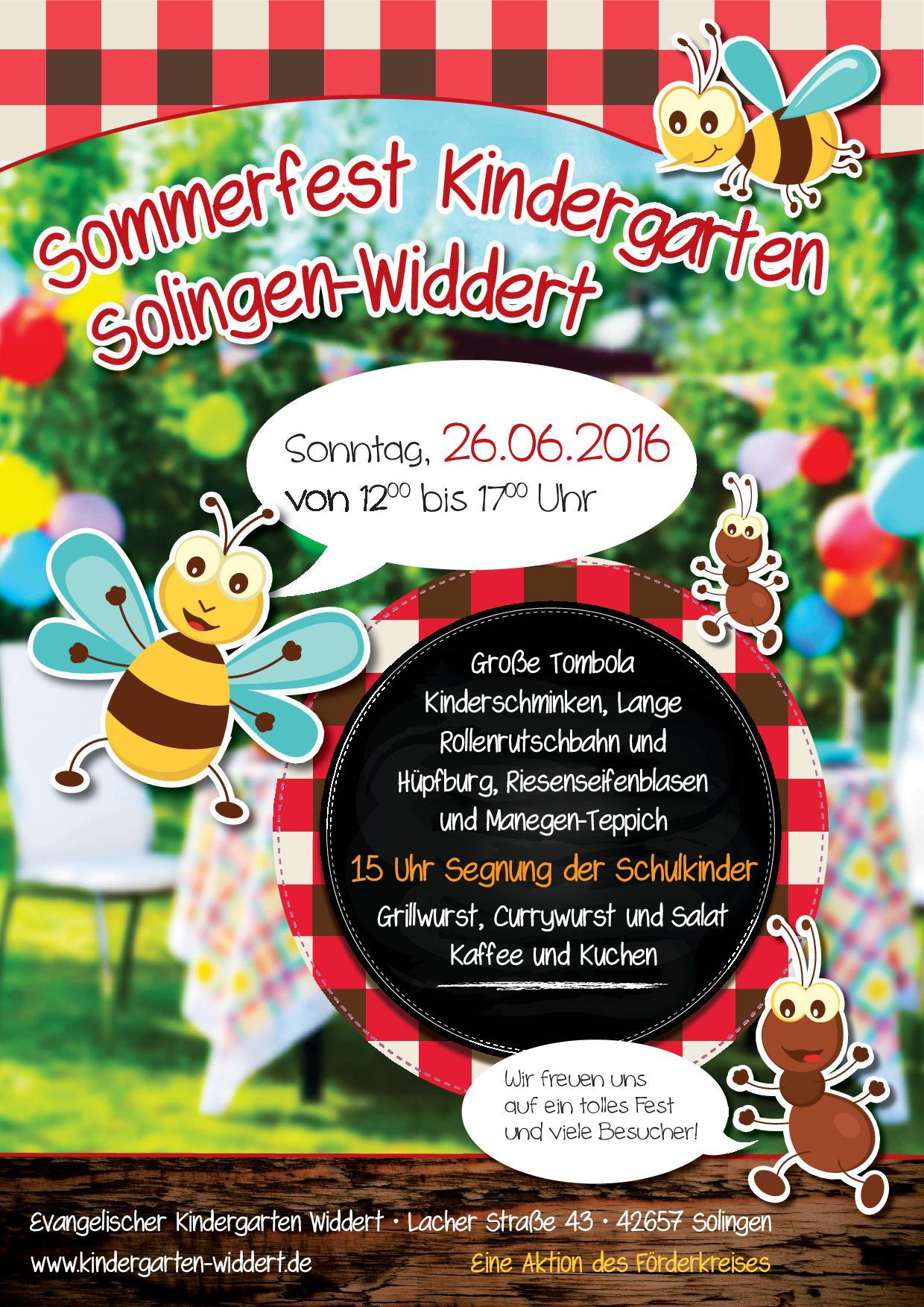 einladung zum sommerfest 2016 | förderkreis kindergarten widdert, Einladung